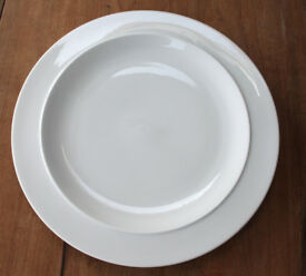 "ONE DENBY WHITE LARGE GOURMET DINNER PLATES 12.5"" TWELVE IN TOTAL"