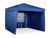 Argos 3 x 3m dark blue pop up gazebo.3 sides,weight bags.Garden/Event