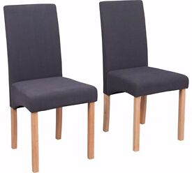 Heart of House 2 Pair of Charcoal Fabric Skirted Dining Chairs BRAND NEW