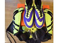 UK12 Nike Hypervenom Phantom Soft Ground Pro Football Boots + Nike Protegga Shin Guards Bundle