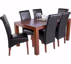 ex-display Heart of House Melford Acacia Dining Table & 6 Chairs-Black