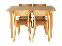 Hygena Retro Dining Table & 4 Chairs-Solid Beech Ash Veneer