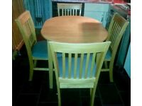 solid wood extending table and chairs,free delivery