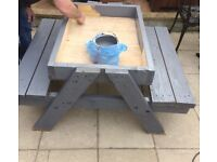 Hand made children's wooden sand pit bench