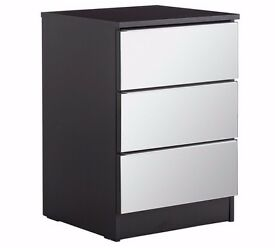 ex-display Sandon 3 Drawer Bedside Chest - Black and Mirrored
