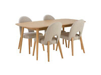 Retro Dining Table with 4 Cream Chairs
