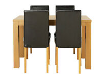 HOME Pemberton Oak Veneer Dining Table & 4 Chairs- Black