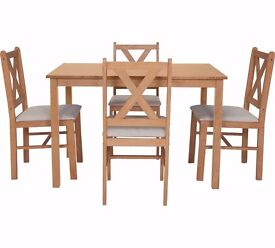 HOME Ava Dining Table and 4 Chairs - Oak Stain/ Cream 211.