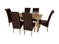 Wickham Dining Table & 6 Chairs -Oak Veneer Choc