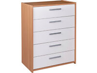 Sywell 5 Drawer Chest - Oak Effect and White (NEW)