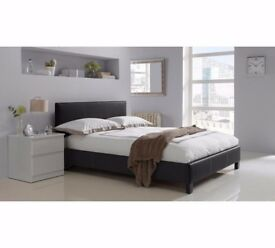 CHEAPEST PRICE GUARANTEED! 70% SALE! BRAND NEW DOUBLE LEATHER BED WITH 1000 POCKET SPRUNG MATTRESS