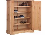 2 Door Shoe Cabinet-Solid Antique Pine