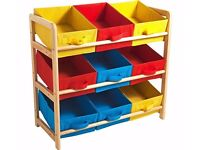 3 tier toy storage unit with 9 baskets