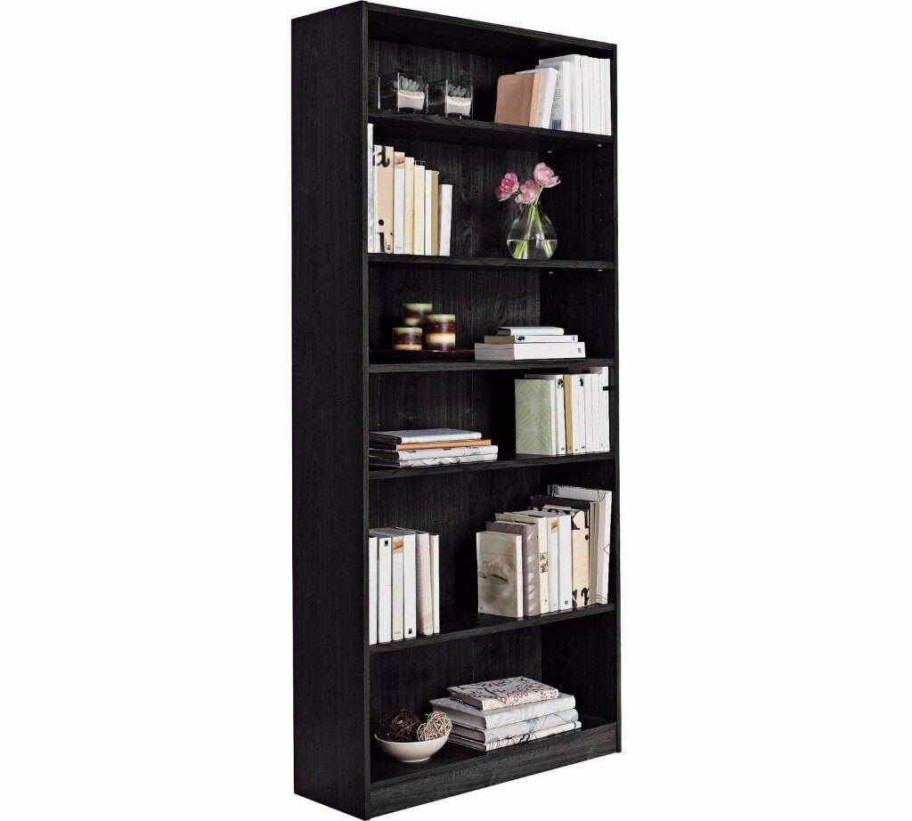 HOME Maine 5 Shelf Tall Wide Extra Deep Bookcase - Black Ash 783.
