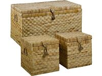For Sale: Set of 3 Large Wicker Chest Boxes