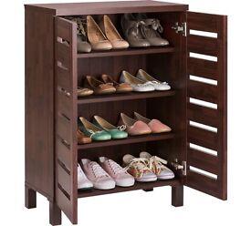 Slatted Shoe Storage Cabinet - Mahogany Effect