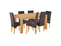 Home of Style Whipsnade Dining Table & 6 Leather Eff Chairs