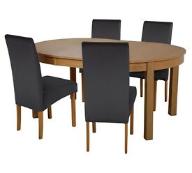 Massey Dining Table & 4 Chairs-Wood Effect/Black