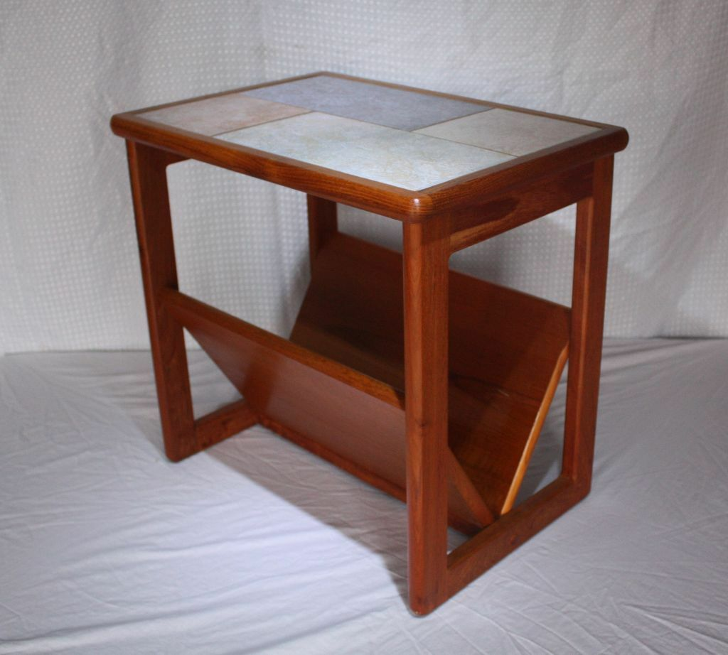 Vintage retro danish tile top teak coffee table side for Retro side table