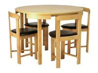 Hygena Spacesaver Table and Chairs Solid Wood