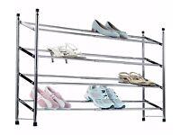 HOME 4 Shelf Extendable Shoe Storage Rack - Chrome Plated 271