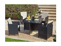 Cube Rattan Effect 4 Seater Patio Set - Black