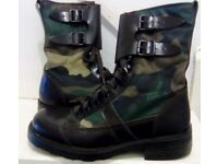 ARMY BOOTS ITALIAN LEATHER CANVAS DESIGNER INDUSTRIAL SIZE (38)