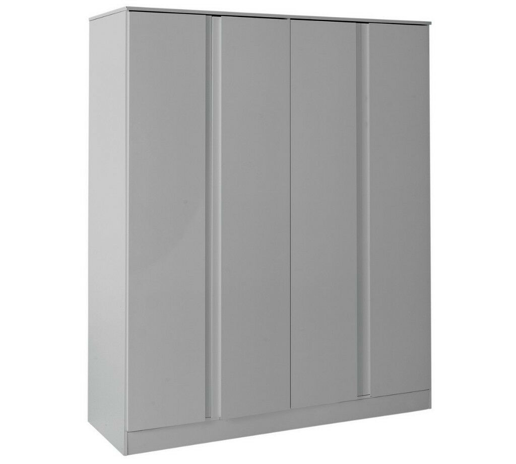 Hygena Larvik 4 Door Wardrobe - Grey Gloss