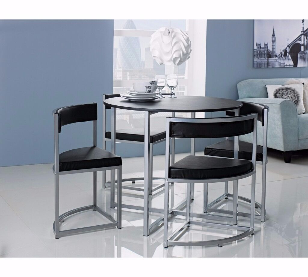 Black Round Hideaway Table And 4 X Chair Set