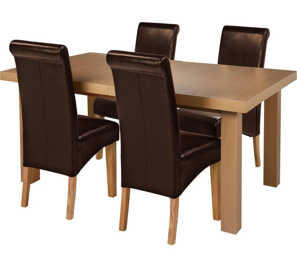 Collection Wickham Oak Veneer Ext Table & 4 Chairs - Choc