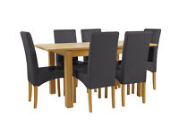 Collection Swanbourne Oak Veneer Ext Table & 6 Chairs- Black