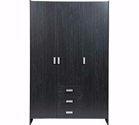 Ex display Capella 3 Door 3 Drawer Wardrobe -Black