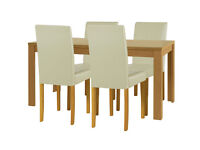 HOME Penley Pentley Oak Ext Dining Table & 4 Chairs Cream