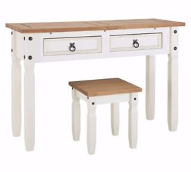 Ex Display Puerto Rico Dressing Table & Stool - White & Pine