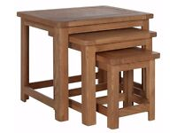 Ex-display Kent Nest of 3 Solid Oak & Oak Veneer Tables