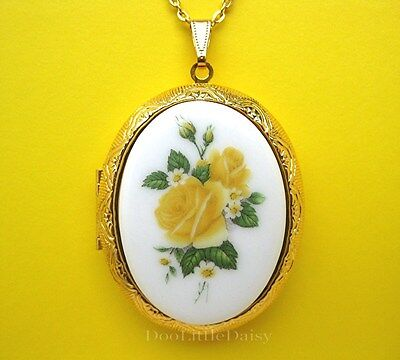 Porcelain YELLOW ROSE BOUQUET CAMEO Costume Jewelry GT Locket Necklace Gift Idea