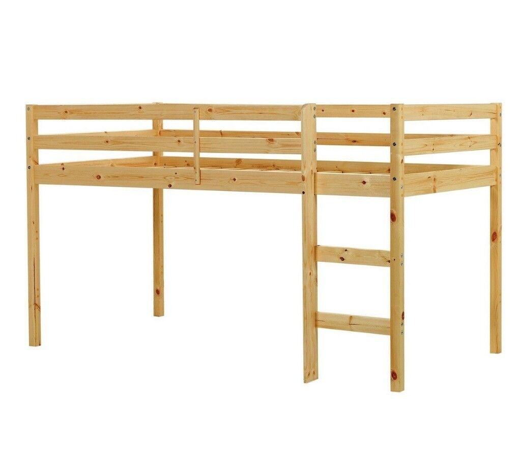 Wooden Mid Sleeper Shorty Bed Frame with or without mattress - Pine ...