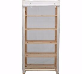 Simple Value Polycotton and Wood 5 Shelf Unit - Cream 522.