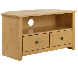 HOME Porto Solid Wood Corner TV Unit - Oak Effect