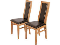 Pair of Warwick 2 Chocolate Oak Effect Dining Chairs