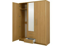 HOME Normandy 3Dr 3 Drw Large Mirrored Wardrobe - Oak Effect