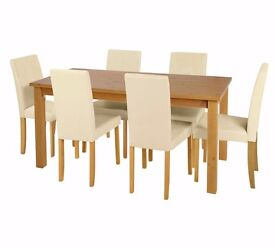 EX-DISPLAY Ashdon Solid Wood Table & 6 Mid Back Cream Chairs