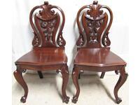Wonderful Pair Victorian Hall Chairs circa 1870
