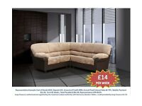 CANDY CORNER OR 3+2 SOFA FAUX LEATHER £14 PER WEEK BRAND NEW