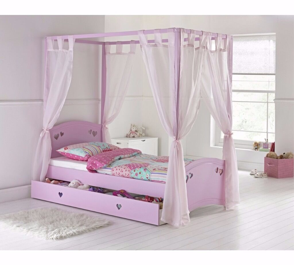 Delightful Single 4 Poster Bed Part - 10: Collection Mia Single 4 Poster Bed Frame - Pink EX DISPLAY