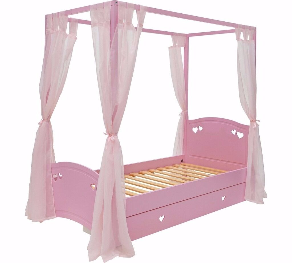 Single 4 Poster Bed Part - 19: Collection Mia Single 4 Poster Bed Frame - Pink
