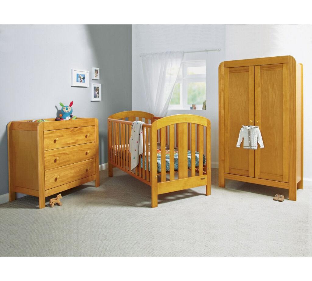 Mamas U0026 Papas Vico 3 Piece Nursery Furniture Set Cot Bed, Dresser And  Wardrobe