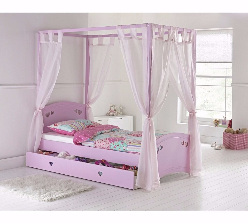 Charming Single 4 Poster Bed Part - 1: Mia Single 4 Poster Bed Frame - Pink Ex Display