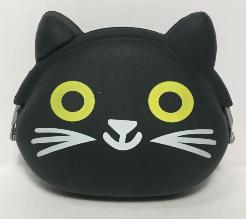 P+G Design Mimi POCHI Friends Silicone Coin Purse Bag, Cute Black Cat, Japanese