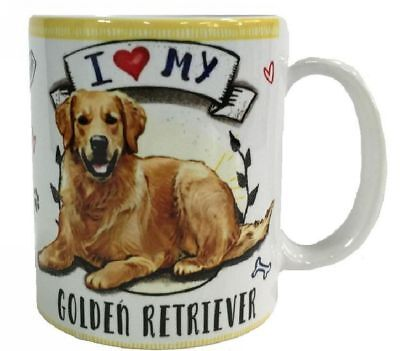 I Love my Golden Retriever Mug Dye Sub Ceramic Mug (Retriever Ceramic Mug)